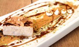 Turró de foie, iogurt col.lat, festucs, praliné i Pedro Ximenez