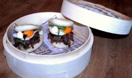Pan bao de xai a baixa cocció, ou de guatlla, kimchi