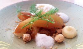 Pera, Calvados, caramel salat, vainilla blanca, fonoll